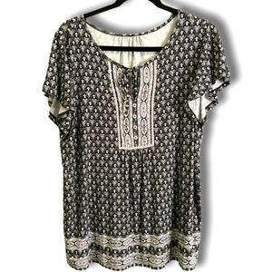 Black & White Boho Short Sleeve Peasant Blouse L